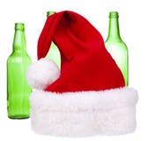 butelka kapelusz Santa Fotografia Royalty Free
