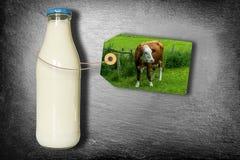 Butelka mleko Z etykietką Odizolowywającą Na łupku - nabiał krowa Na łące - Obrazy Royalty Free