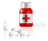 butelka narkotyzuje środek przeciwbólowy pigułki ilustracja wektor