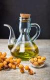 Butelka oleju palmowego i palmy owoc Obraz Royalty Free
