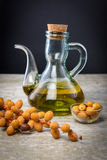 Butelka oleju palmowego i palmy owoc Zdjęcie Stock