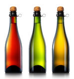 Butelka piwo, cydr lub szampan odizolowywający, zdjęcia stock