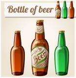 Butelka piwo Szczegółowa Wektorowa ikona Obrazy Royalty Free