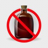 Butelka pod czerwonym znakiem prohibicja Znak zakaz na alkoholu Pojęcie alkohol ilustracji