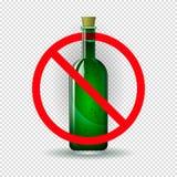 Butelka pod czerwonym znakiem prohibicja Znak zakaz na alkoholu Pojęcie alkohol royalty ilustracja