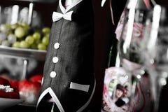 butelka stół szampański świąteczny Zdjęcie Royalty Free