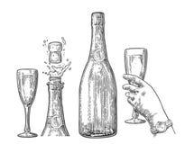 Butelka Szampański wybuchu i ręka chwyta szkło ilustracji