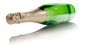 Butelka szampan na odosobnionym Zdjęcia Royalty Free