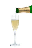 Butelka szampan nalewa w szkło Obraz Royalty Free