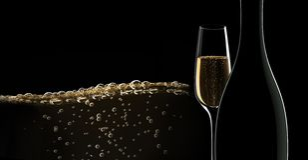 Butelka szampan z szkłem ilustracja wektor