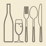Butelka, szkło szampan, rozwidlenie, nóż i łyżka, Zdjęcie Stock