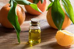 Butelka tangerine istotny olej na drewnianym tle fotografia stock