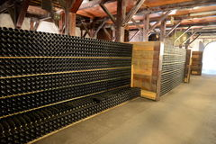 Butelka wino w lochu wytwórnia win Santa Rita Fotografia Stock