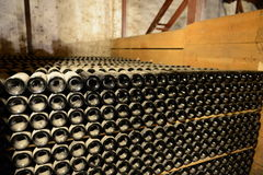 Butelka wino w lochu wytwórnia win Santa Rita Fotografia Royalty Free