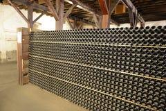 Butelka wino w lochu wytwórnia win Santa Rita Zdjęcia Stock