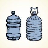 Butelka woda rysuje t?a trawy kwiecistego wektora royalty ilustracja