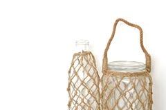 Butelka z rybak siecią Zdjęcie Stock