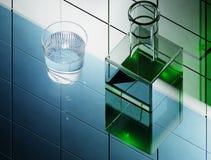 Butelka z zielonym jadu 3D renderingiem Obrazy Royalty Free
