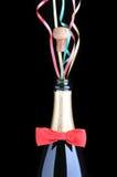 butelki łęku szampański czerwony faborków krawat Fotografia Royalty Free