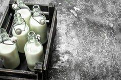 Butelki świeży mleko w starym pudełku Obraz Royalty Free