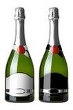 butelki 2 czarny etykietki ustawiają biel Fotografia Stock
