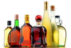 Butelki asortowani alkoholiczni napoje Obraz Royalty Free