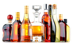 Butelki asortowani alkoholiczni napoje Zdjęcie Royalty Free