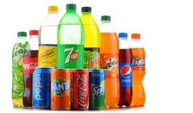 Butelki asortowani globalni miękcy napoje Obraz Stock