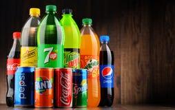 Butelki asortowani globalni miękcy napoje Fotografia Stock
