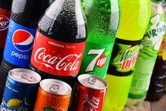 Butelki asortowani globalni miękcy napoje Obrazy Stock