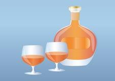 butelki brandy szkła Obraz Royalty Free