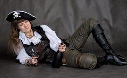 butelki chmielna dziewczyny pirata krócica Zdjęcie Royalty Free
