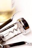 butelki corkscrew wino Obrazy Royalty Free