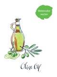 butelki gałąź oleju oliwki ilustracja wektor