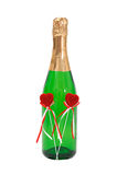 butelki gazowanych serc pluszowy czerwieni dwa wino zdjęcia stock