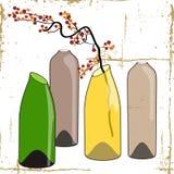 Butelki i kwiaty. ilustracji
