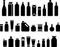 Butelki i pakuje ikony ilustracja wektor