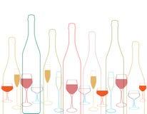 Butelki i szklana sylwetka Zdjęcia Stock