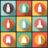 Butelki ikona ustawiająca w Płaskim projekcie, s kolekcja ilustracji