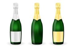 Butelki iskrzasty wino lub szampan Z srebnymi i złotymi etykietkami royalty ilustracja