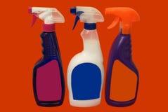 Butelki kiści cleaning produkty household Fotografia Stock