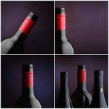 butelki kolażu cztery wizerunków wino Zdjęcie Stock