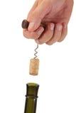 butelki korkowy corkscrew ciągnięcie Zdjęcia Royalty Free