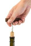 butelki korkowy corkscrew ciągnięcie Obrazy Stock