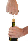 butelki korkowy corkscrew ciągnięcie Zdjęcia Stock