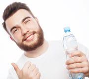 butelki mężczyzna woda obraz stock