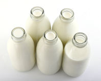 butelki mleko Zdjęcia Stock