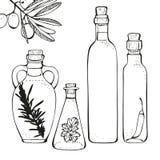 butelki oliwią oliwki Obrazy Stock