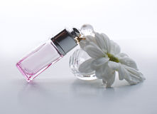 butelki pachnidło na białym tle Obrazy Stock