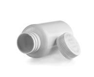 butelki puszka lay medycyny otwarty biel Fotografia Stock